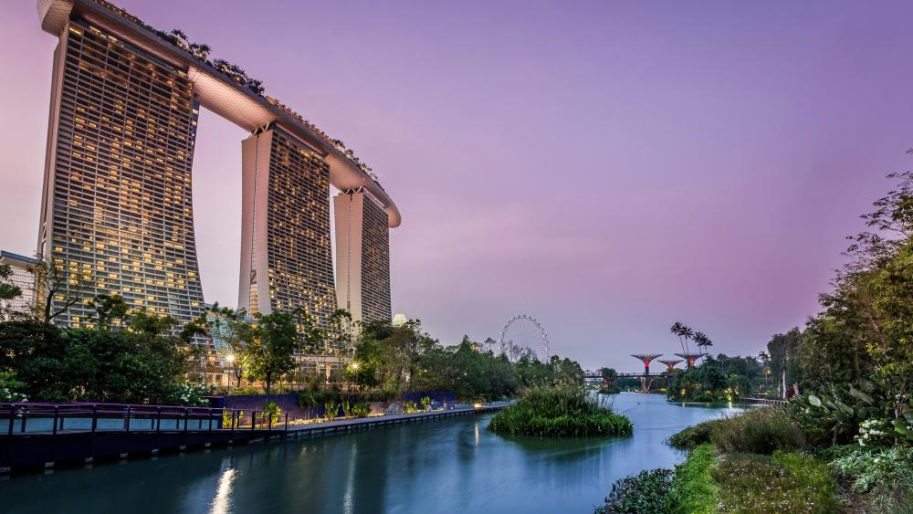 Gardens by the Bay and Marina Bay Sands wallpaper
