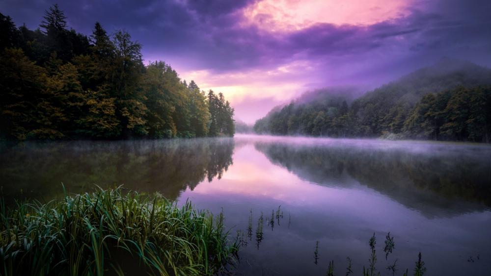 Misty dawn reflection wallpaper