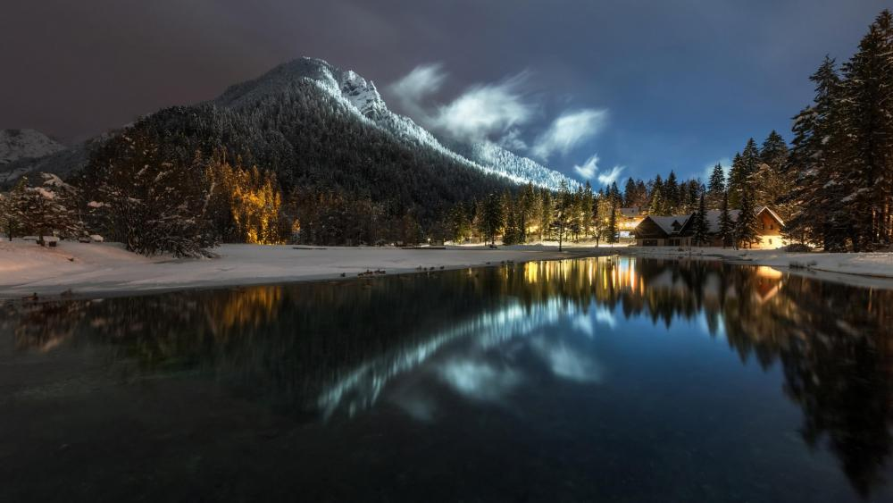 Winter night at Lake Jasna (Slovenia) wallpaper