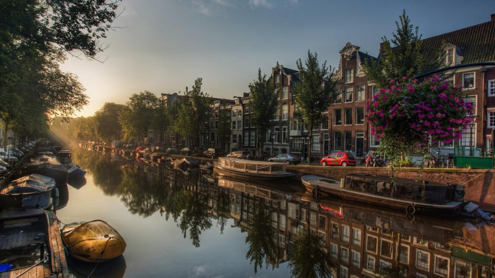 Amsterdam canal reflection wallpaper