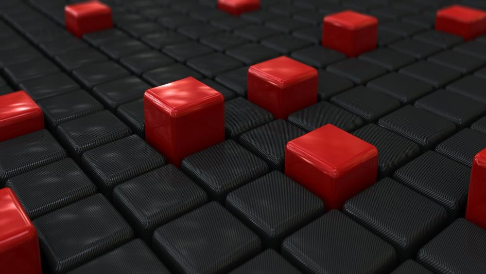 3D black and red cubes wallpaper