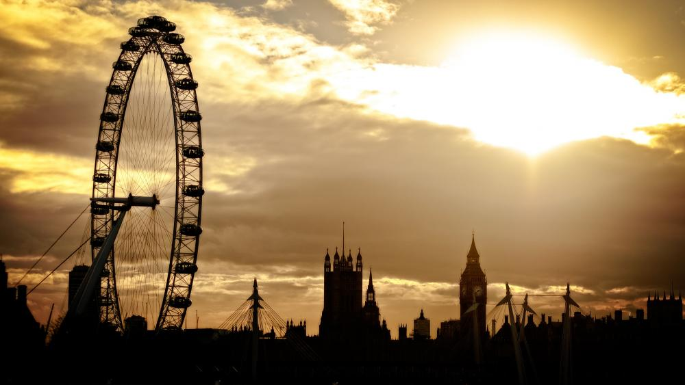 London Eye silhouette wallpaper