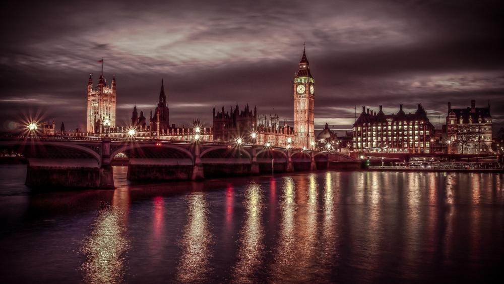 River Thames and Westminster Bridge at night wallpaper