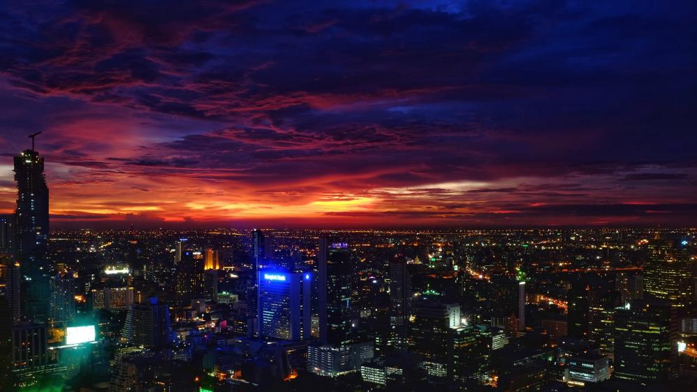 Bangkok at dusk wallpaper