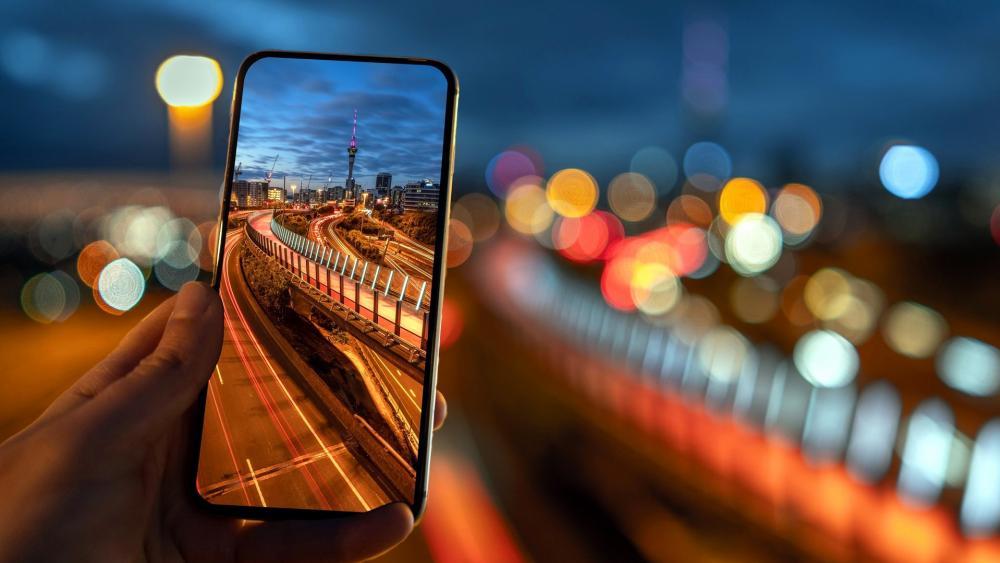 Cityscape on the smartphone screen wallpaper