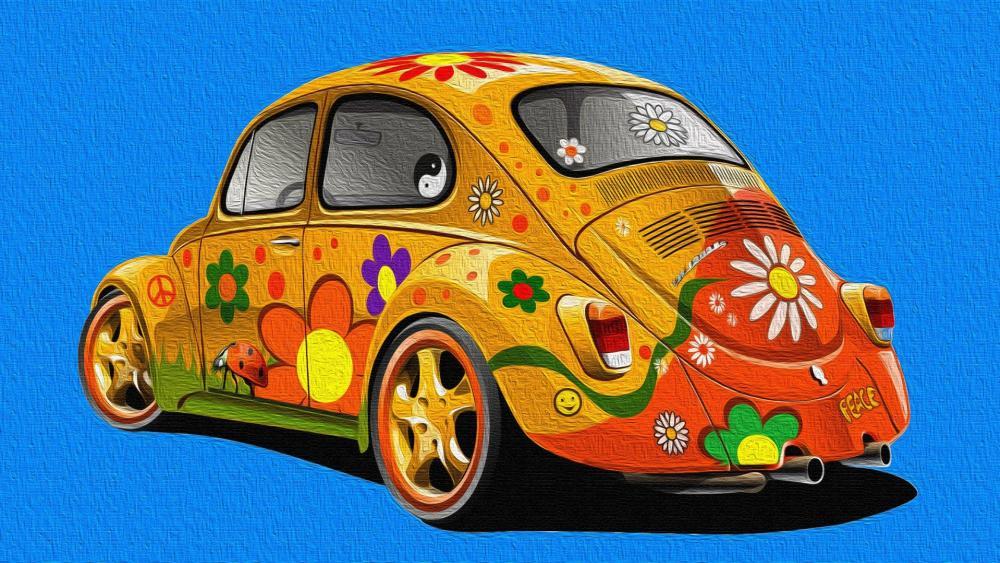 Flower decorated Volkswagen Beetle wallpaper