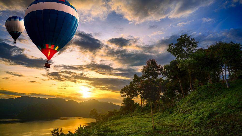 Hot air ballons above lake wallpaper