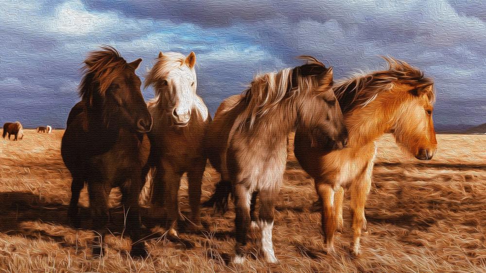 Icelandic horses painting art wallpaper