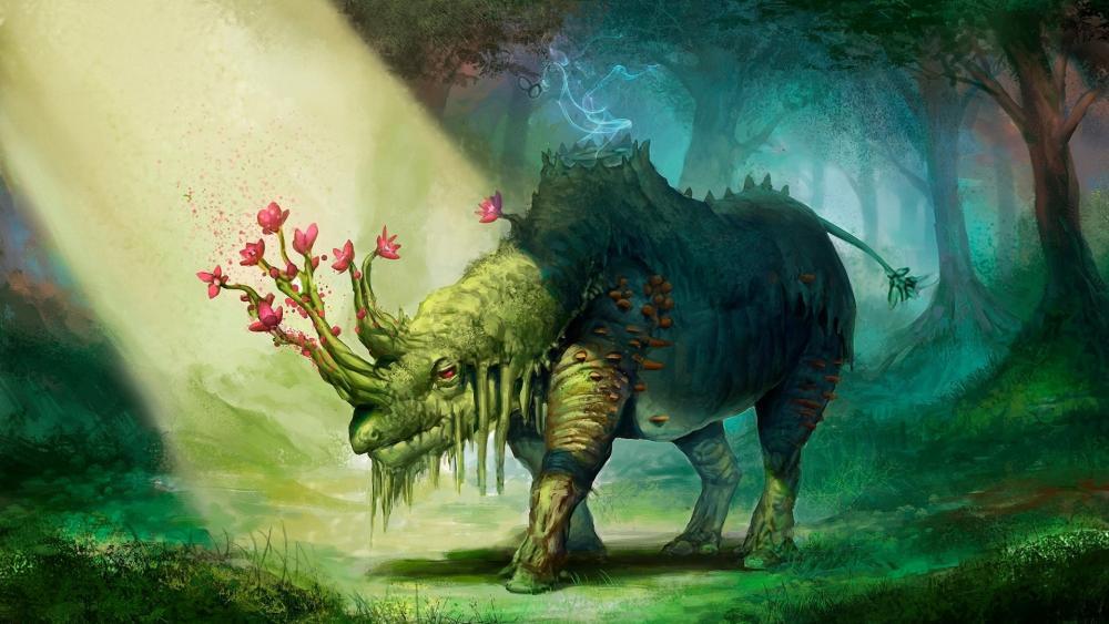 Rhino with flower horn - Fantasy art wallpaper