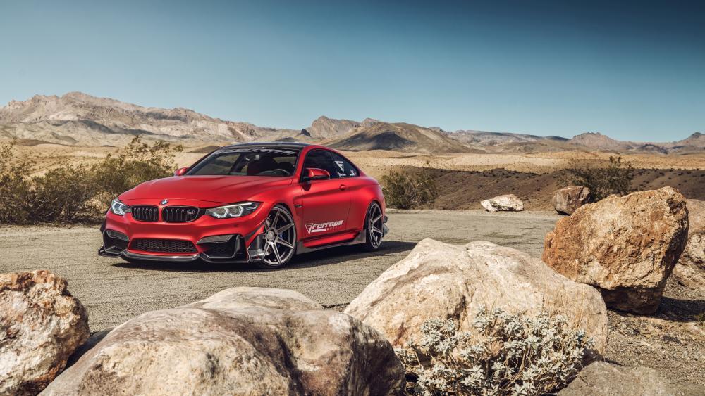 Frozen Red BMW M4 wallpaper