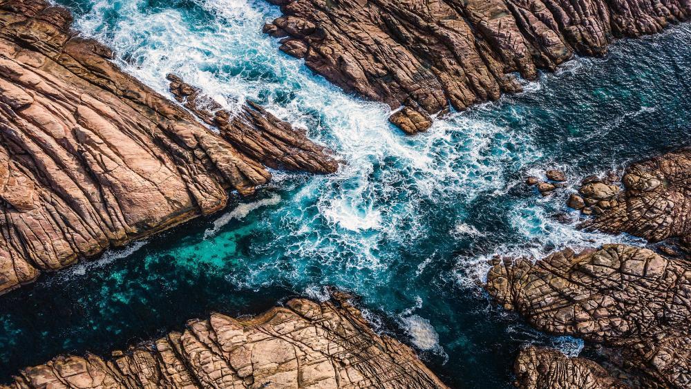 Sea Rocks Waves wallpaper