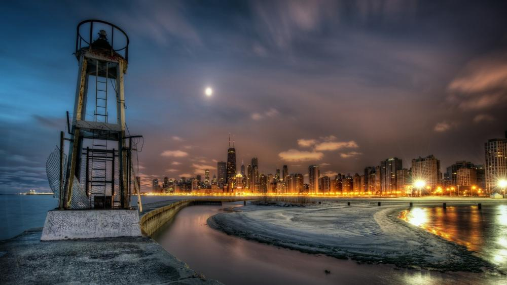 Lake Michigan and Chicago wallpaper