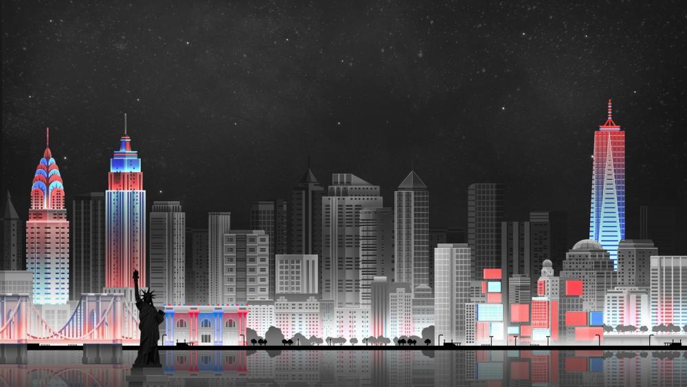 Manhattan illustration wallpaper