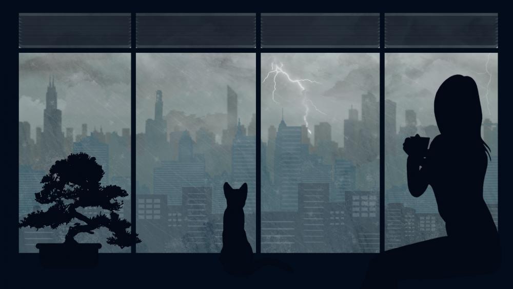 Anime girl silhouette wallpaper