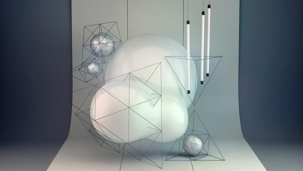 3D Geometry Shapes wallpaper