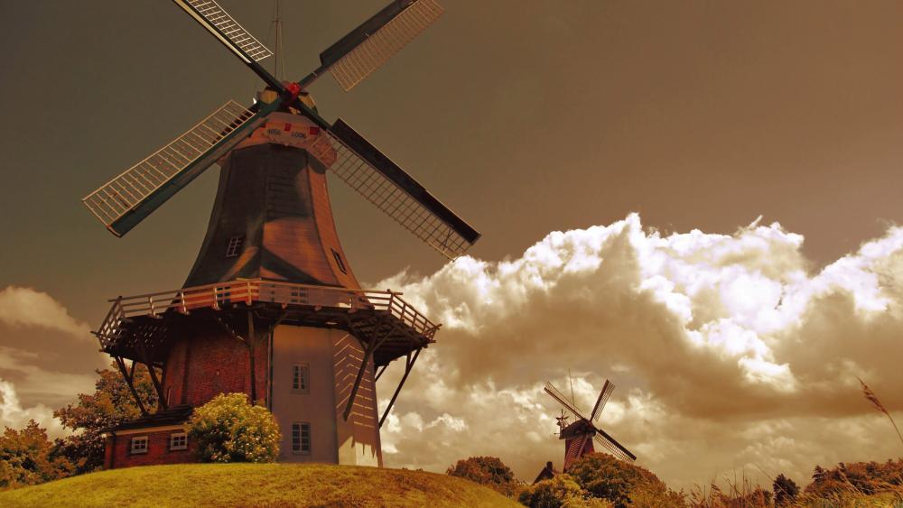 Traditional Dutch windmills wallpaper