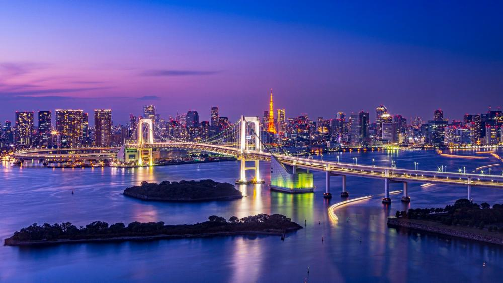 Rainbow Bridge over Tokyo Bay wallpaper