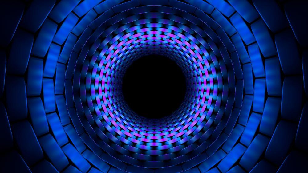 3D blue circle fractal wallpaper
