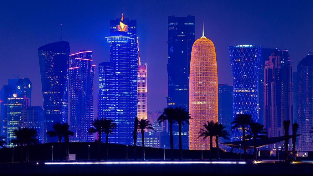 Doha at dusk wallpaper