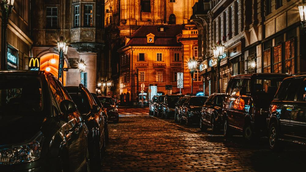 Prague night street wallpaper