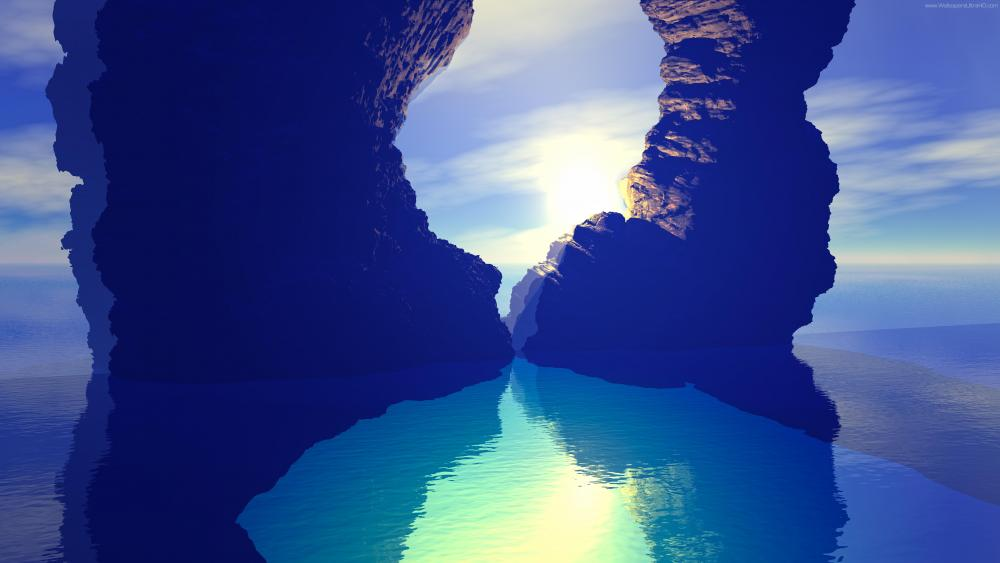 Blue Lagoon - Fantasy landscape wallpaper
