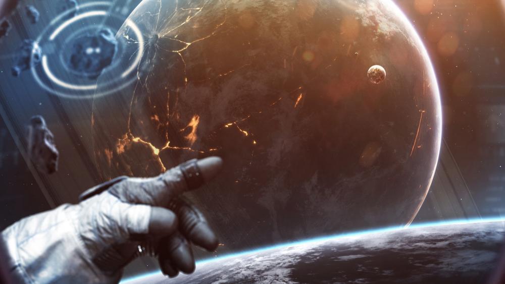 Astronaut in black hole wallpaper
