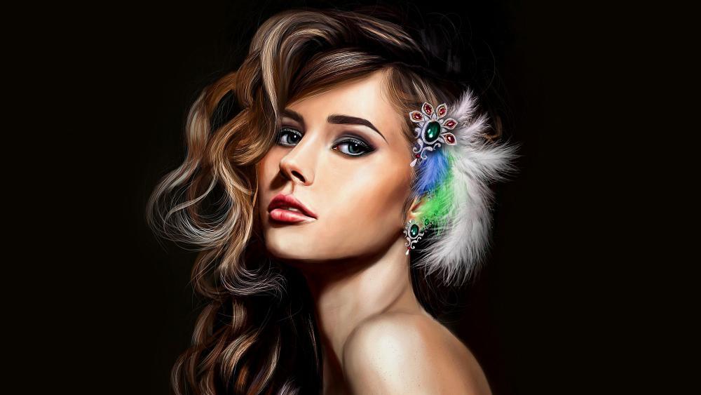 Fantasy beautiful girl painting wallpaper