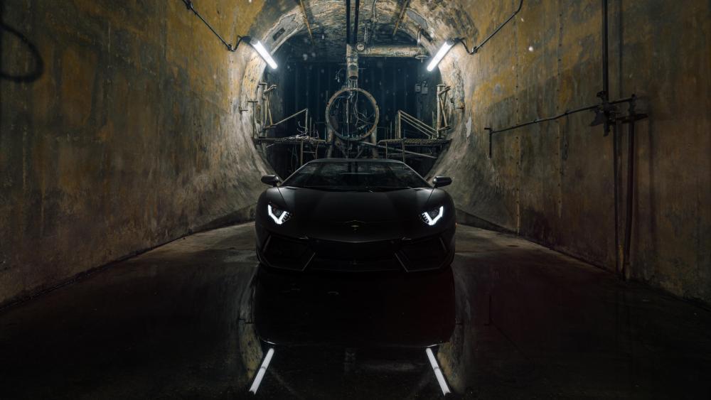 Black Lamborghini Aventador in a tunnel wallpaper
