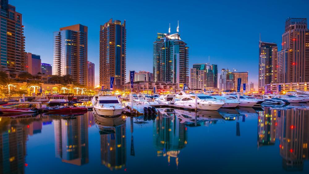Dubai Marina full with yachts wallpaper