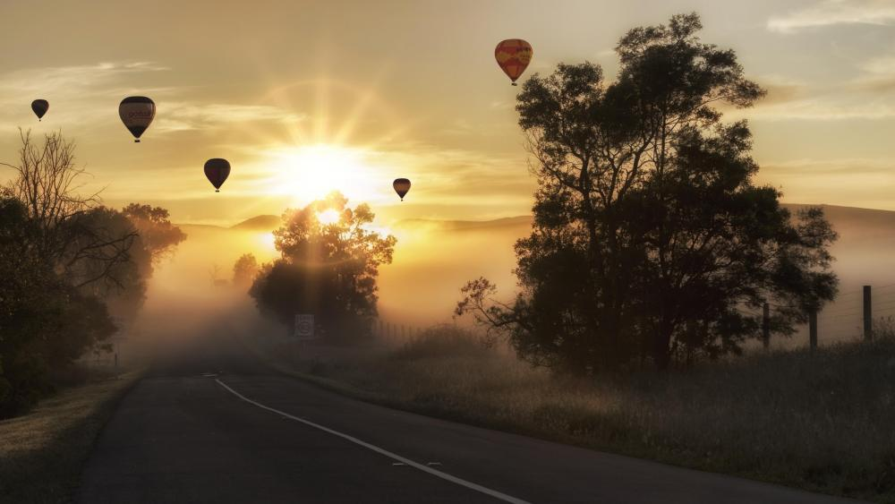Hot air balloons in the sunrise wallpaper