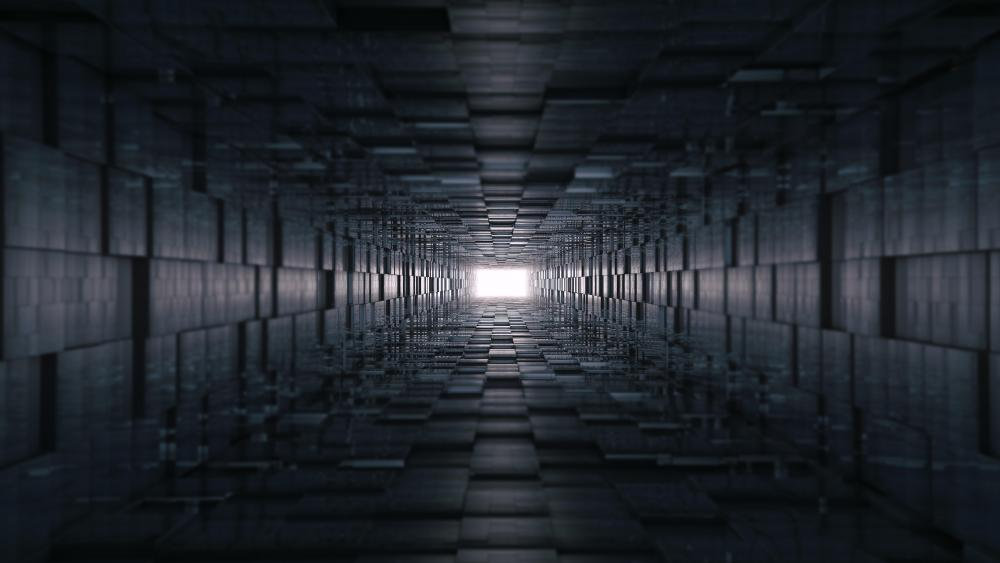 Black tunnel toward the light wallpaper
