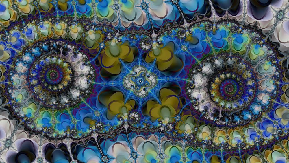 Double fractal art wallpaper