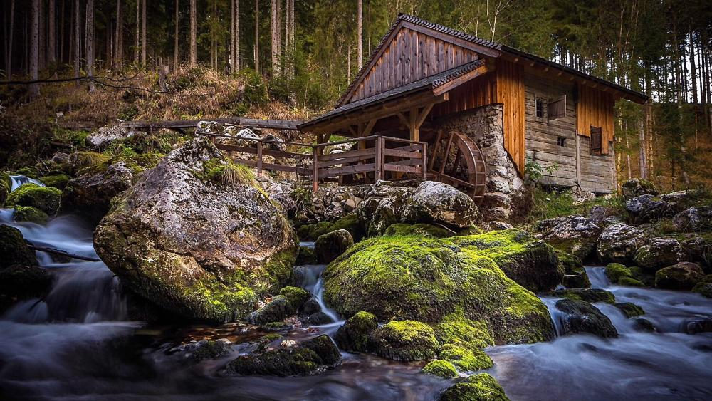 Old watermill in Golling wallpaper