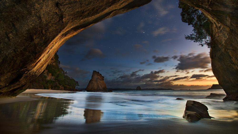 Cathedral Cove (New Zealand) wallpaper
