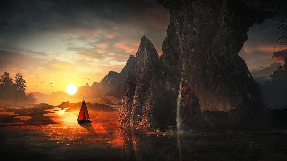 Sailboat in the sunset - Fantasy Landscape wallpaper
