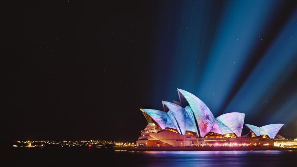 Sydney Opera House at night wallpaper