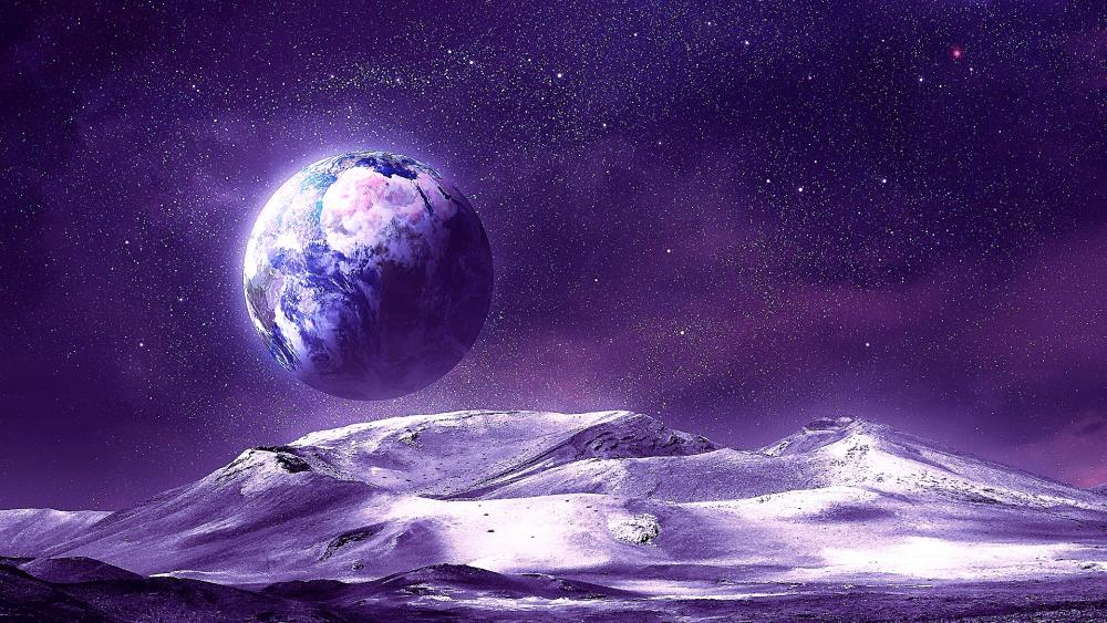 Alien landscape - Fantasy space art wallpaper