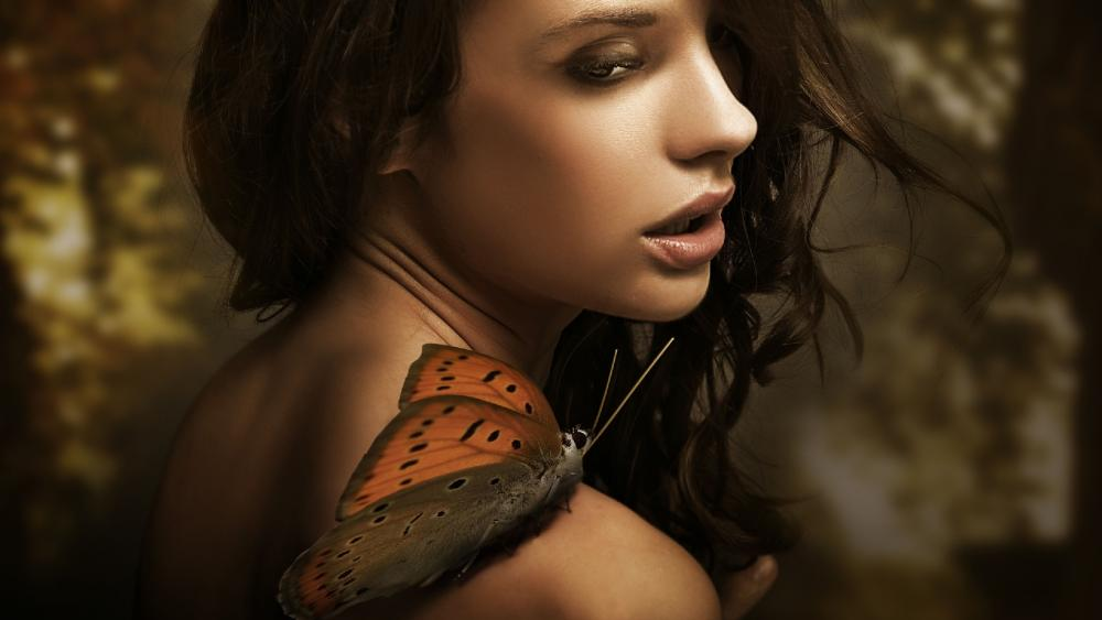 Girl with a butterfly on her shoulder wallpaper