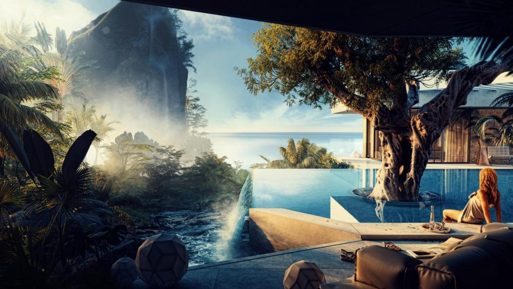 Fantasy swimming pool wallpaper