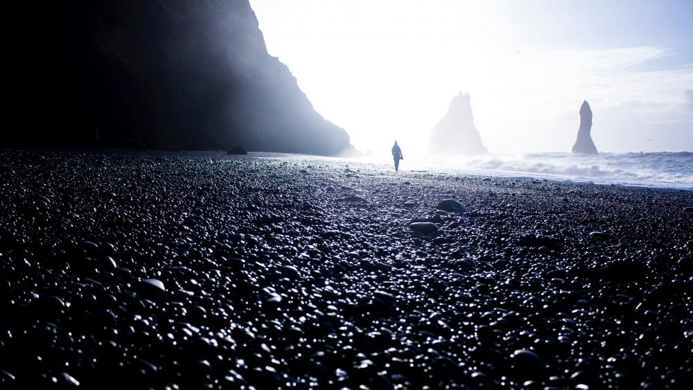 Man in the seashore - Fantasy landscape wallpaper