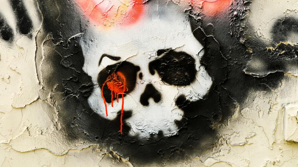Skull wall graffiti wallpaper