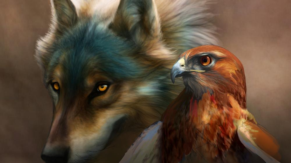 Wolf with hawk drawing wallpaper