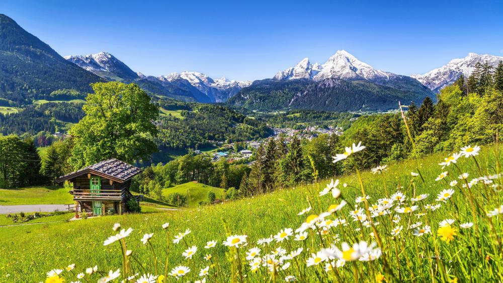 Watzmann in springtime, Bavaria, Germany wallpaper