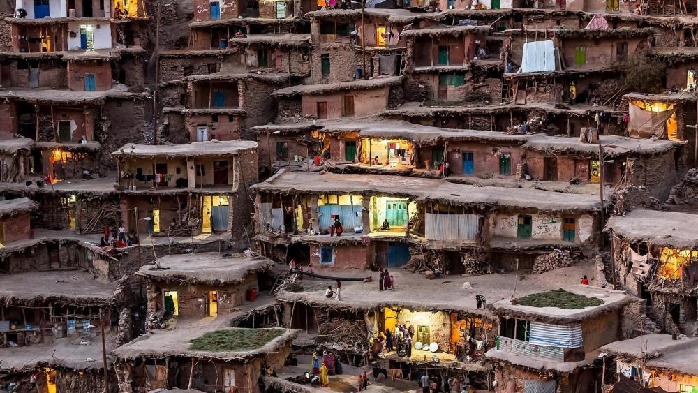 Houses of Masuleh town wallpaper