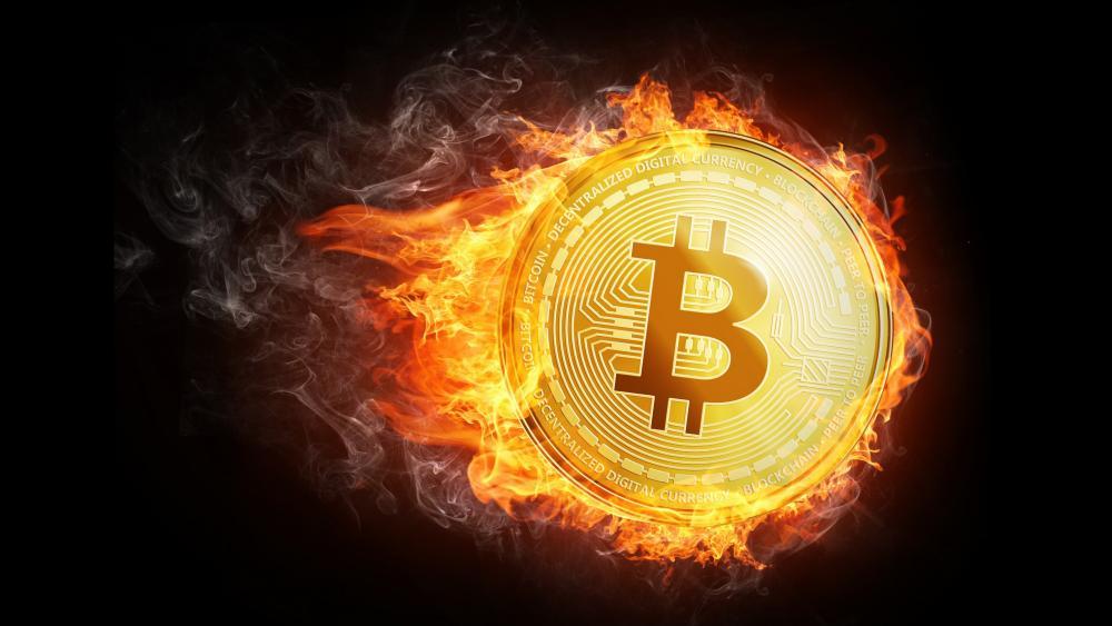 Flaming gold Bitcoin wallpaper
