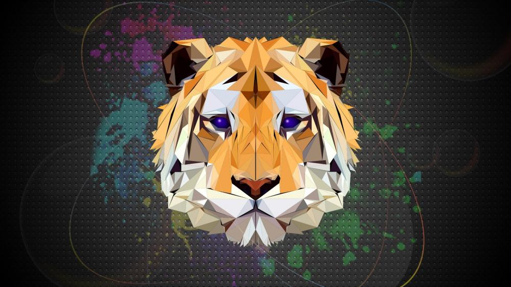 Low-poly tiger head wallpaper