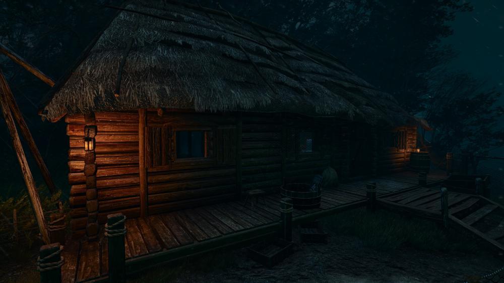 Log cabin in the twilight wallpaper