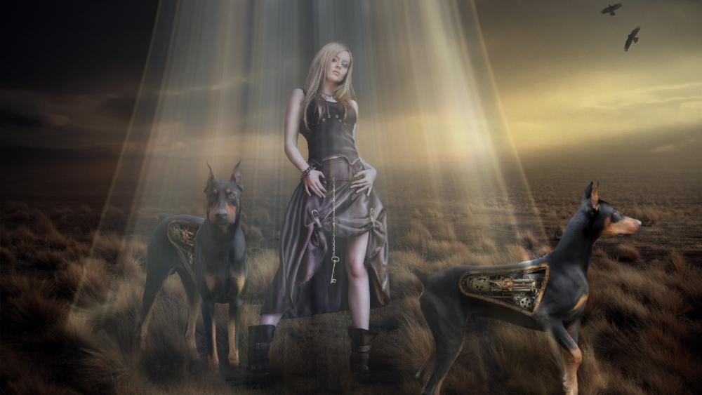Woman with robot doberman dogs - Steampunk art wallpaper