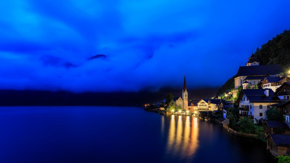 Hallstatt at night wallpaper