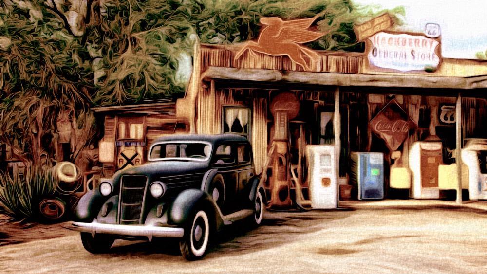Vintage car at a service station wallpaper